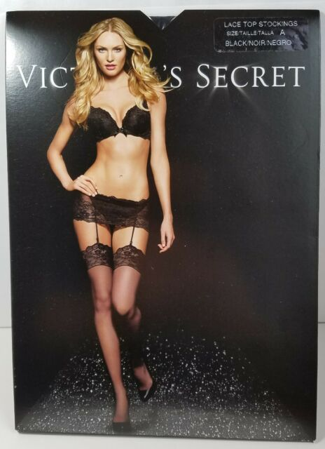 1b40ed623 Victoria s Secret Lace Top Stockings Size a Black A6 for sale online ...