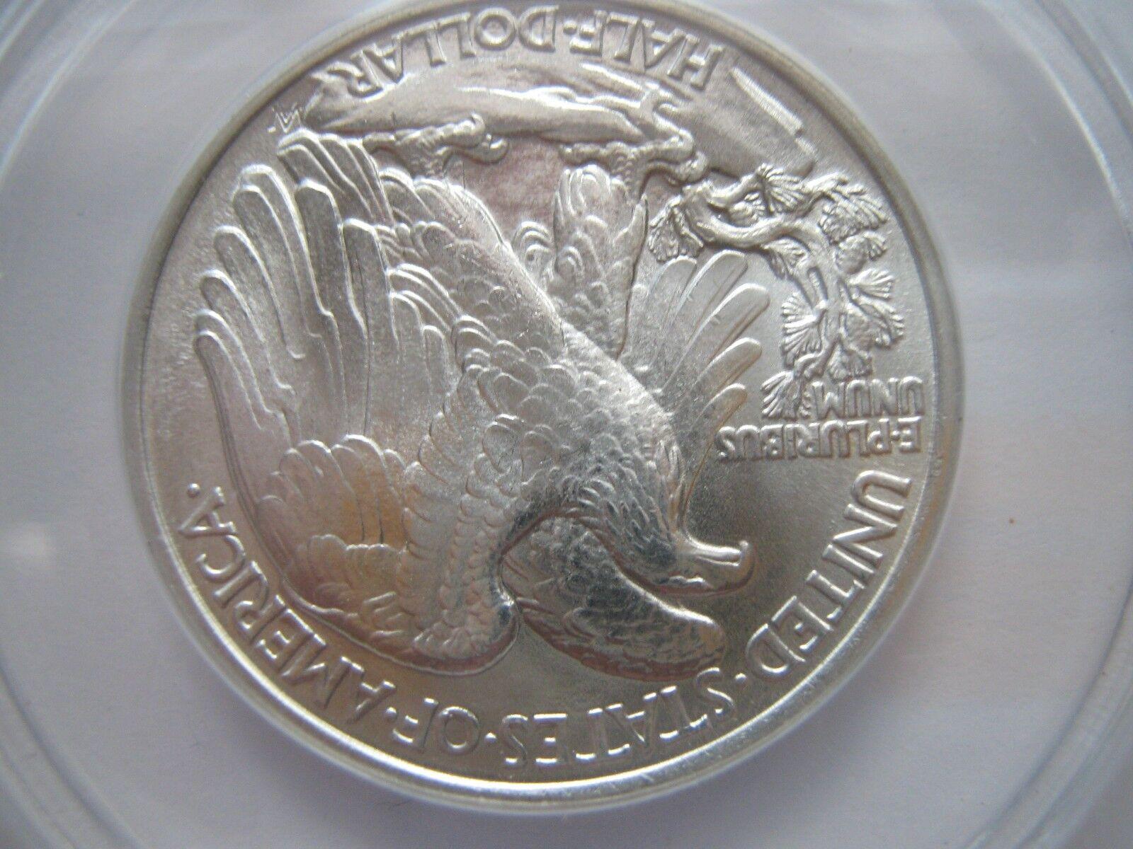1943 , Walking Liberty Half Dollar , ANACS , MS 65
