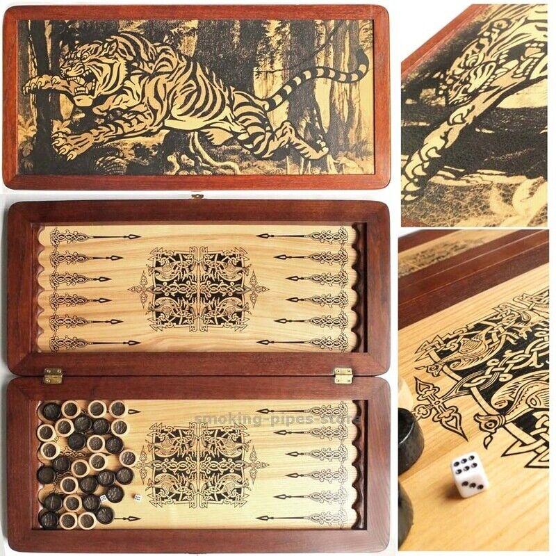 Tiger lujo cuero hecho a mano de mesa juego de madera grande juego de Chaquete placa 21  XXL
