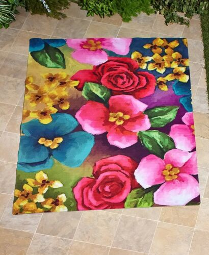 Flower Garden Outdoor Printed Area Rug Great for Patio Porch Deck 1-Pc
