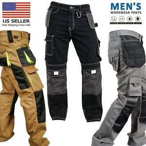 Mens-Work-worker-Safety-Cordura-Trousers-Kneepad-Cargo-Pockets-Working-Pants