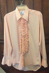 Vintage Peach/Pink Rüschen Smoking Shirt nach 6 m4