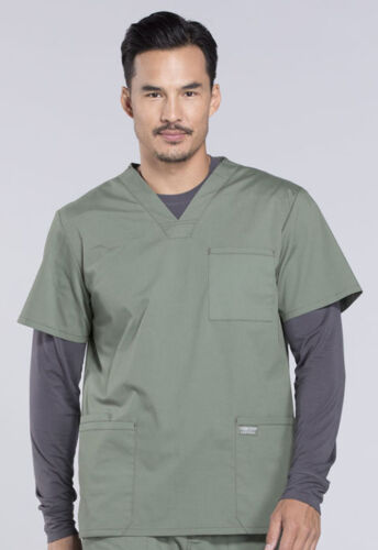 Olive Cherokee Scrubs Workwear Professionals Mens V Neck TALL Top WW695T OLV