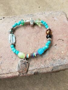 handmade-034-Blessed-034-turquoise-beads-amp-silver-cross-stretch-bracelet
