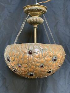 Antique-Vintage-Jeweled-Chandelier-Repousse-Art-Nouveau-Arts-Crafts-Mission-Lamp