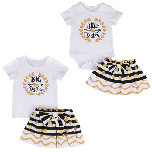 Baby Kid Girl T-shirt Sister Matching Clothes Jumpsuit Romper Dress 2PCS Outfits
