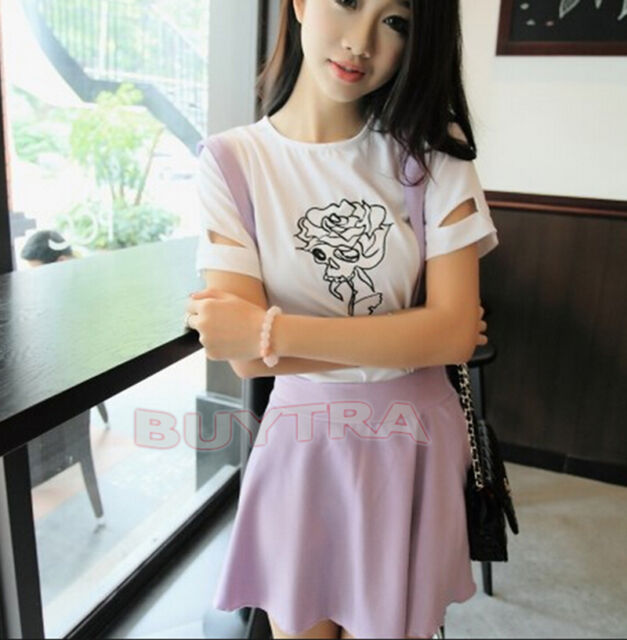 Bright color Girl Waist Suspender Skirt Pastel Skater Flared Pleated Mini Dress