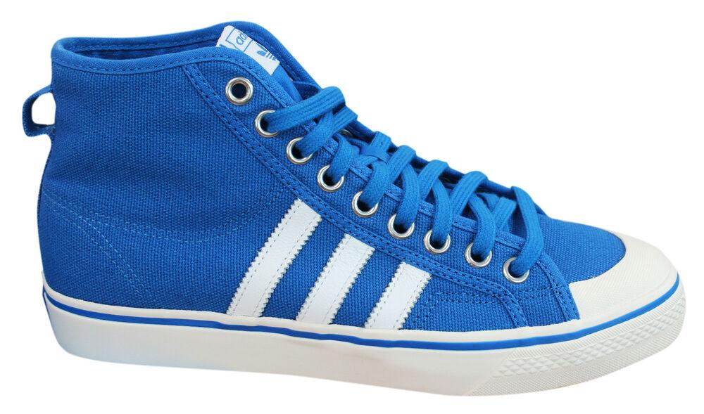 Adidas Originals Nizza Hi Baskets Homme à Lacets Chaussures Bleu Blanc BZ0548 M17-