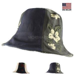 Hawaiian Tall Crown Hiking Fishing Beach Sun Bucket Hat Women Men ... a2525344a93
