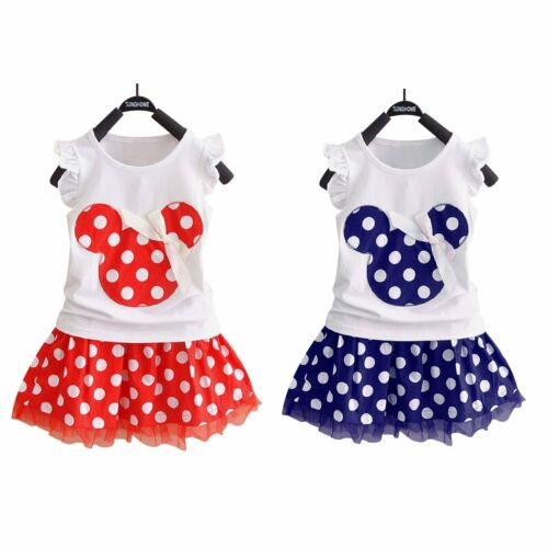 Jupe Robe Enfant Bébé Fille Minnie Mouse Tenues Vêtements T-shirt Tops