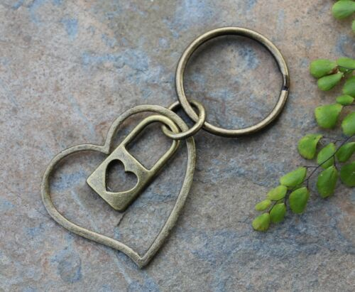 Heart Lock Keychain antiqued brass lock and large heart charms key to my heart