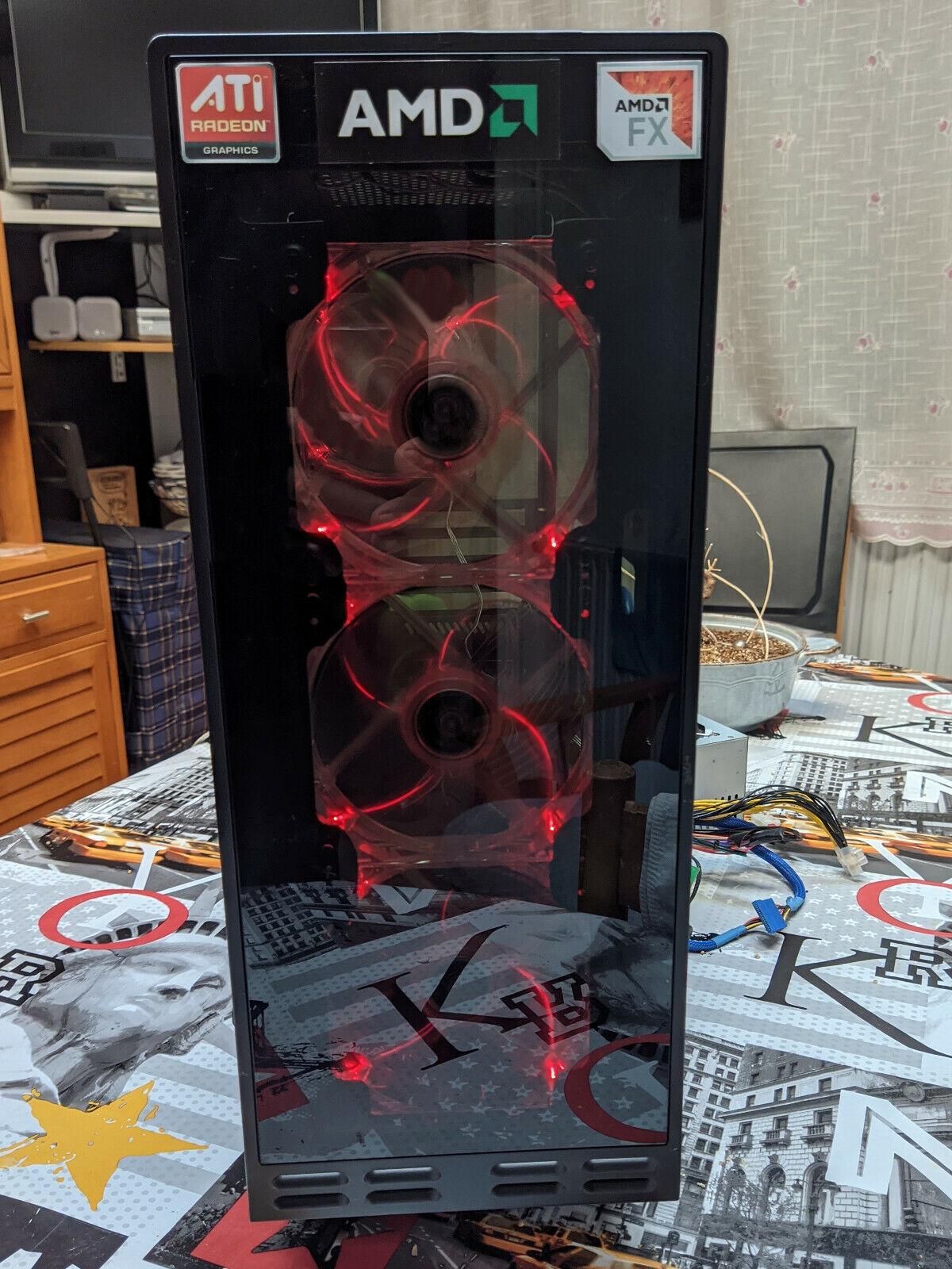 Caja/Chasis de ordenador ATX vacía con frontal de cristal templado con luz
