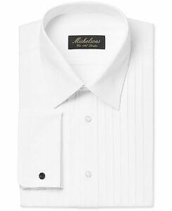 99-MICHELSONS-Men-039-s-CLASSIC-FIT-WHITE-FRENCH-CUFF-TUXEDO-DRESS-SHIRT-17-5-32-33