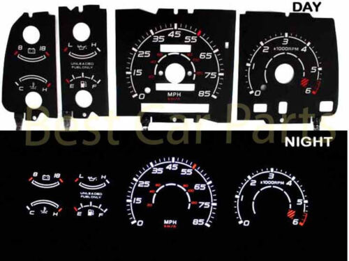 Black 91-94 Explorer w//Tach White Indiglo El Glow Gauge Kit