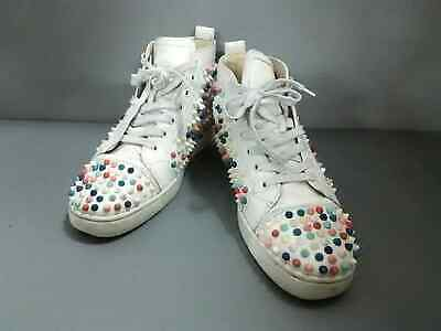 new styles dc158 dc849 Auth CHRISTIAN LOUBOUTIN Louis Spike 1140098 White Multi Leather Mens  Sneakers | eBay