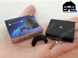 PS4 PRO Miniature with box and controller. Handmade Miniature 3D