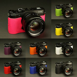 Image Is Loading Genuine Real Leather Half Camera Case Bag For
