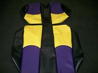 EZ-GO TXT Golf Cart Deluxe™ Vinyl Seat Covers-Staple On(Black w/Purple-Yellow)