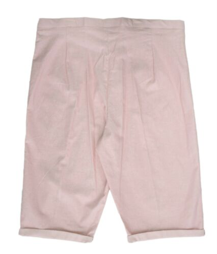 Womens New Size 12-24 Linen Blend Pink Knee Length Shorts Fitted Waist Ladies