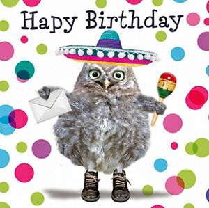 Image Is Loading Owl Birthday Card Owlmigo Mexican Sombrero Hat Amp