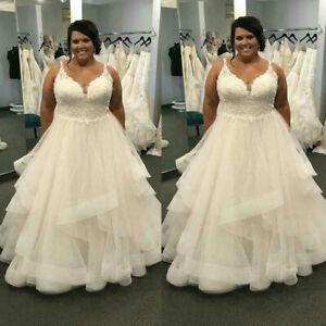 Plus Size Wedding Dresses Spaghetti Straps Lace Applique Ruffles V Neck Custom Ebay