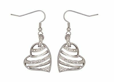 DSE 5122359 Wired Heart Earrings Swarovski crystal / rhodium-plated Authentic