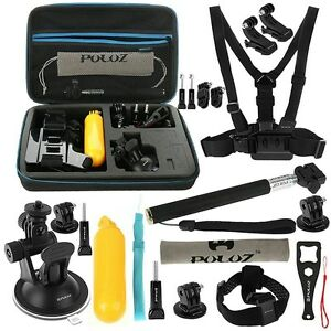 gopro hero 6 5 4 3 fusion puluz 20 in 1 combo accessory mount kit case session ebay