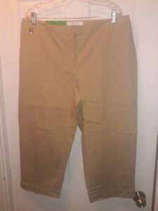 5c179b2354284 NWT Liz Claiborne Golf Tan Jackie Cropped Size 16 Pants Stretch