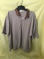Men's Fairway & Greene XL Brown White Striped Golf Polo Shirt S/S EUC