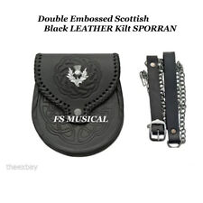 Double Embossed Scottish Black LEATHER Kilt SPORRAN With Belt & Emblem