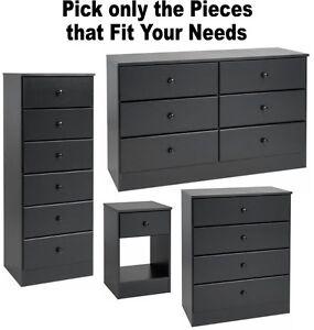 Details about Black Bedroom Furniture Dressers Nightstands Chest Dresser  Drawer Sets 4 6 7 NEW