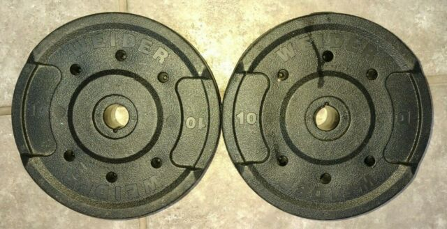 2-10 Lb WEIDER IRON Weight PLATES 1 Inch Hole USED