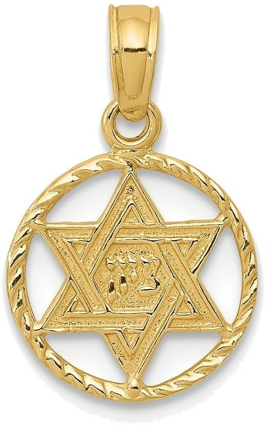 14K Yellow gold Star Of David In Circle Frame Pendant