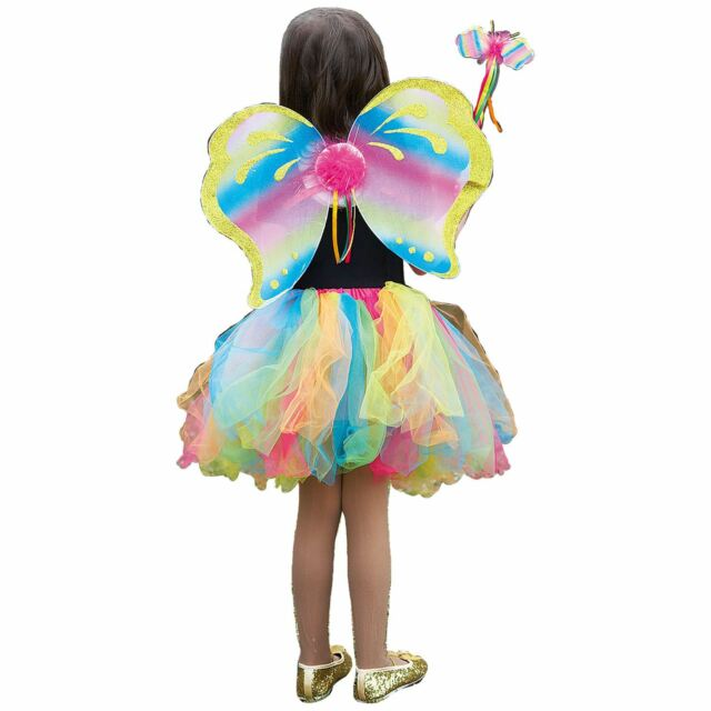 Kids Deluxe Rainbow Fairy Wings Wand Tutu Fancy Dress Fairytale Costume Kit