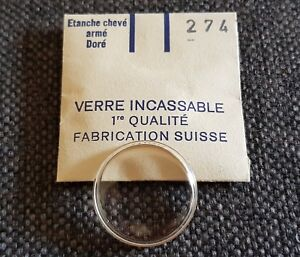 Verre-de-montre-suisse-arme-bague-plexi-diametre-274-Watch-crystal-vintage-NOS