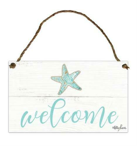 Reef /'Welcome/' Hanging Tin Sign 18x30 Kelly Lane Designs for Walls Gates Entrywa