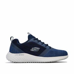 Skechers-Homme-LARRON-a-Enfiler-Style-Leger-Amorti-Baskets-En-Bleu-Marine