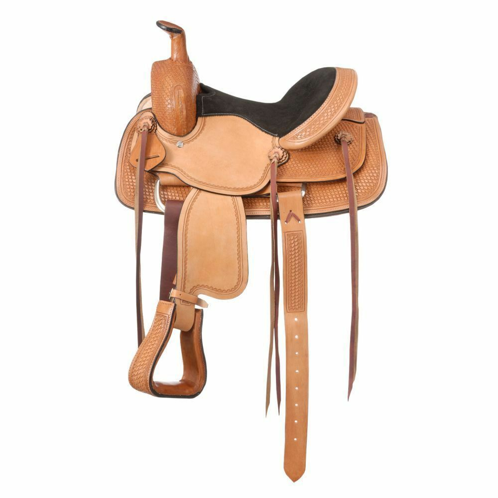 Western Natural Leer Hand Tooled Barrel Racer met Leer StRingen 15