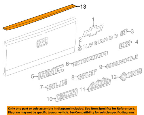GM OEM Bed or Tailgate-Top Molding Trim Protector Cap 22763062
