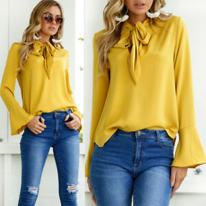 0e09df6e Fashion Women's Casual Tops T-Shirt Loose Top Long Sleeve Blouse US ...