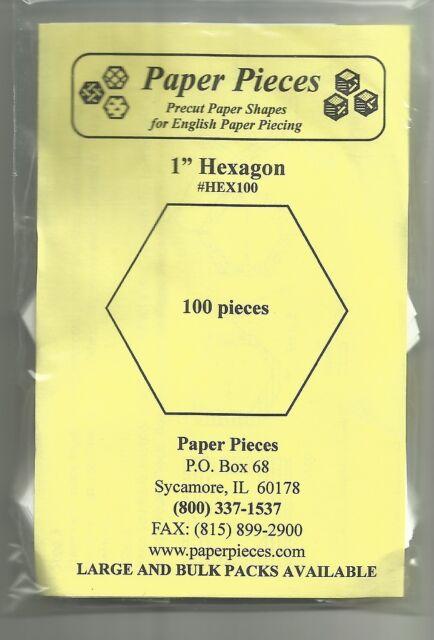 "Hexagon Paper Pieces - 1"" - 100 pieces"