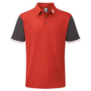 FootJoy-Mens-Stretch-Pique-Colour-Block-Golf-Polo-Shirt-XL-Red-Charcoal-White
