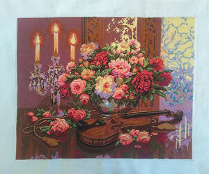 NEW-Completed-finished-cross-stitch-034-VIOLIN-TABLE-034-home-decor-home-gifts