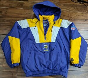 the best attitude 3dc44 b5851 Details about Vintage 90's Minnesota VIKINGS STARTER HOODED Puffer Winter  Jacket Mens Large XL