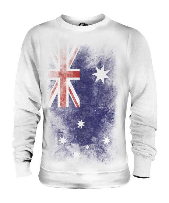 AUSTRALIA FADED FLAG UNISEX SWEATER TOP AUSTRALIAN SHIRT FOOTBALL JERSEY GIFT