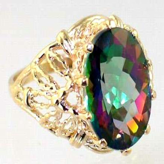 Mystic Fire Topaz 10KY or 14KY gold Ladies Ring R260-Handmade