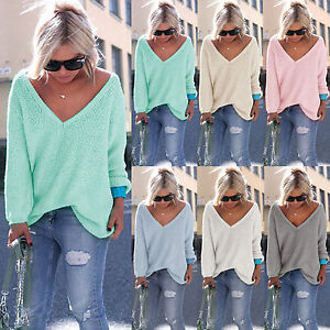 New-Womens-Long-Sleeve-V-Neck-Loose-Knitted-Sweater-Ladies-Casual-Jumper-Tops