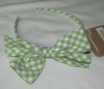 Crazy 8 Easter 2012 hair accessories green gingham bow headband