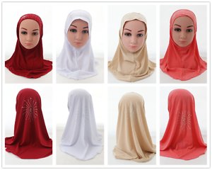 Kids-Girls-Islamic-Muslim-East-Rhinestone-Hijab-Flower-Scarf-Arab-Headwear
