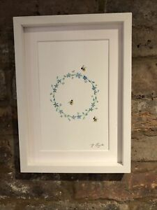 Bumble Bees Original Signed Art Watercolour Painting, Framed And Gift Wrap